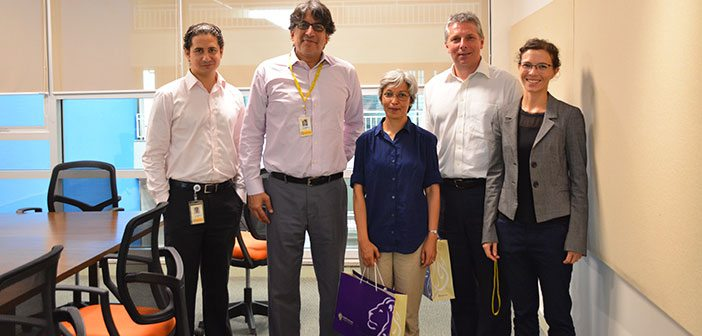 Left to Right: Head of Habib University Relations, Sibtain Naqvi, Habib University President, Mr. Wasif Rizvi, Head of Education at British Asian Trust, Ms. Anjana Raza, Chief Executive of the trust, Mr. Richard Hawkes, and Manager, Institutional Outreach at HU, Miriam Kugele.