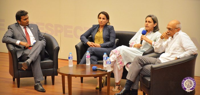 From left to right: Dr. Anzar Khaliq, HU Faculty member, Atiqa Lateef, Group Chief of Staff at Byco Industries Inc., Sophia Hasnain, Market Engagement Manager for Asia, for the Mobile Money program, and Eram Hasan, the Chief Supply Chain Manager at K-Electric.
