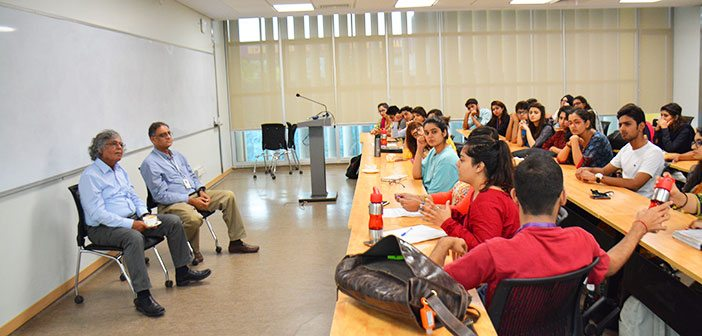 During one of the classes, Pakistani journalist Mr. Ghazi Salahuddin was invited by course instructor Dr. Asif Aslam Farrukhi, as a guest speaker.